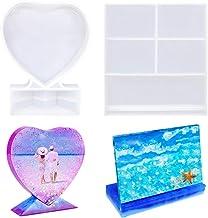 Yousir Kristallen epoxy spiegelornamenten, 2-delige rechthoekige en hartvormige harsvorm, voor fotolijsten, doe-het-zelf s...