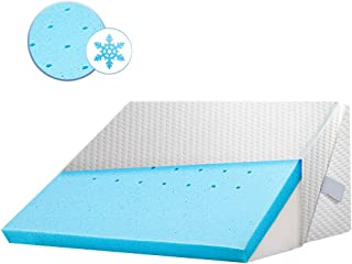 ENITYA Bed Wedge Pillow Cooling Gel Memory Foam Incline Cushion Support Your Back and Legs Pain .Acid Reflu...