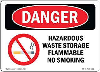 OSHA Danger Sign - Hazardous Waste Storage Flammable No Smoking | Vinyl Label Decal | Protect Your Business, Construction Site, Shop Area |  Made in The USA