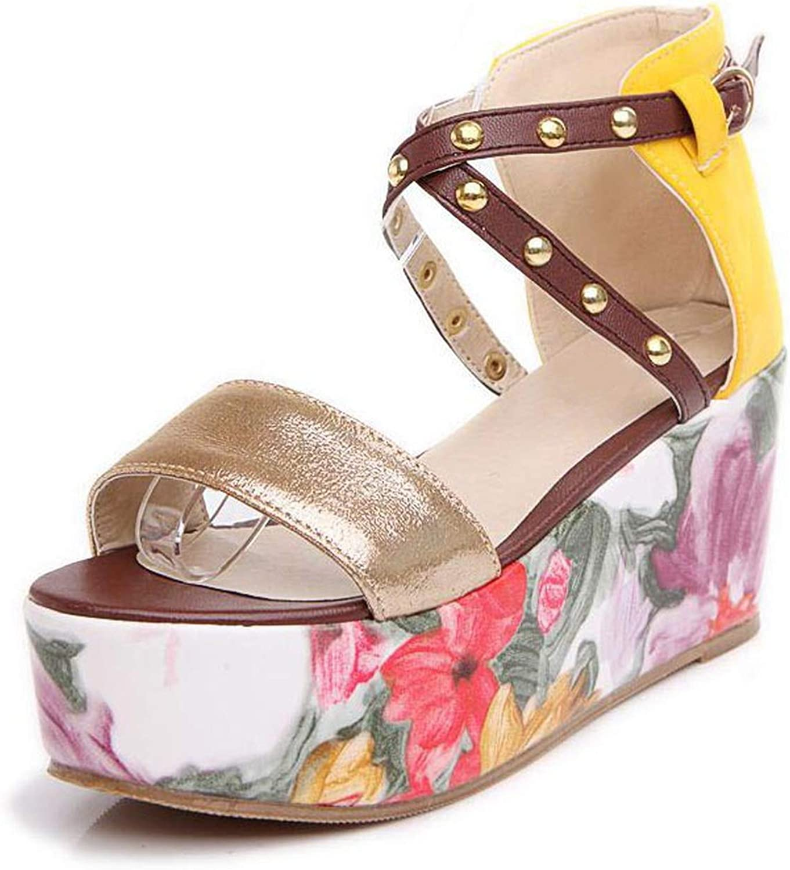 Alex Kuts Women's High Wedges Sandals Shine Rivet Print Platform Wedges Sandals Summer Vacation shoes,gold,3