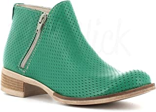 Made in Italy Stivaletto Pelle Due Cerniere - Verde