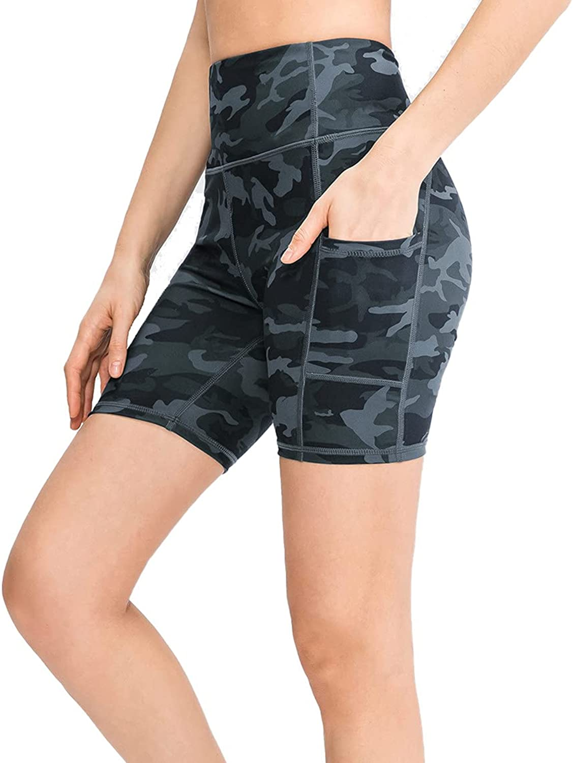 NUOVA ACTIVE Women's High Waist Print Athletic Shorts with 2 Outside Pockets Workout Tummy Control Yoga Shorts