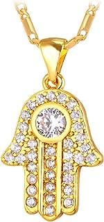 Women 18K Gold Platinum Plated Cubic Zirconia Hand of Fatima Heart Design Lucky Hansa Pendant Necklace