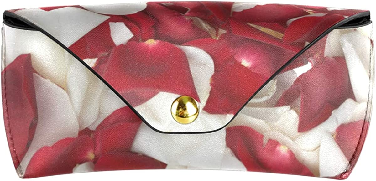 PU Leather Sunglasses Case Eyeglasses Pouch Red And White Rose School Goggles Bag Portable Multiuse