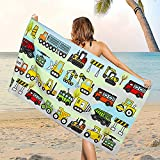 Microfiber Cartoon Vehicles Beach Towel, Sand Free Construction Vehicle Beach Towels Oversized, Quick Dry Soft Bath Towels for Bathroom, Pool, Outdoor Camping and Sports, 31.5 x 59.1 Inches