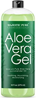 Majestic Pure Aloe Vera Gel for Face and Hair - with Lavender Essential Oil, Soothes, Moisturizes, & Nourishes Skin & Hair...