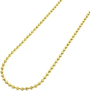 """Sterling Silver Italian Ball Bead Moon Cut Solid 925 Yellow Gold Beaded Necklace Chains 2MM 3MM 4MM 5MM 6MM, 16"""" - 40"""