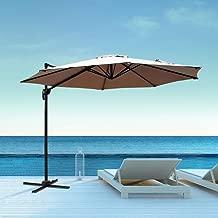 Aclumsy 10ft Patio Offset Cantilever Umbrella-Patio Hanging Umbrellas,Outdoor Market Umbrellas with Crank Lift & Cross Base(Beige)