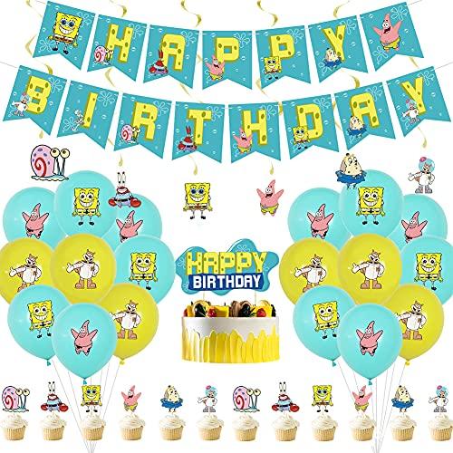Set de Fiesta de Cumpleaños, NALCY 38 Pcs Suministros de globos de fiesta de Bob Esponja, Decoración para tartas con diseño de Bob Esponja, para Favores Regalo Carnaval Boda