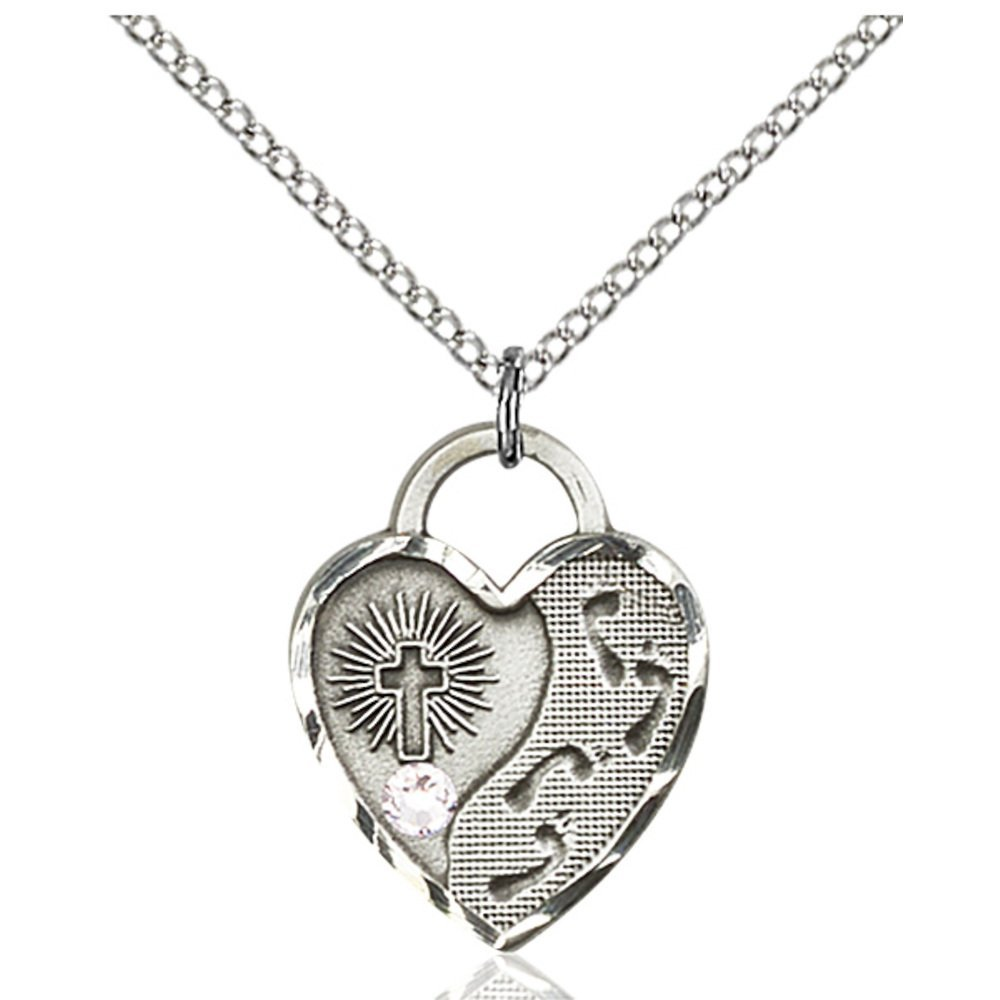 Sterling Silver Footprints Heart Pendant 3mm San Jose Mall April with Reservation Swarovsk