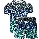 Pantalones de Playa Impresos en 3D de Las Mujeres de los Hombres del Verano Patrón de la Camiseta de la Camiseta de la Moda del Boutique de la Moda del Modelo del Diamante de 2 Piezas 4 5XL