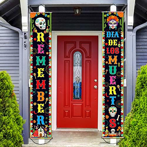 Day of The Dead Decorations Dia de Los Muertos Banner Mexican Party Decorations Porch Sign Day The Dead Banner Hanging Flag Fiesta Decoration for Indoor/Outdoor