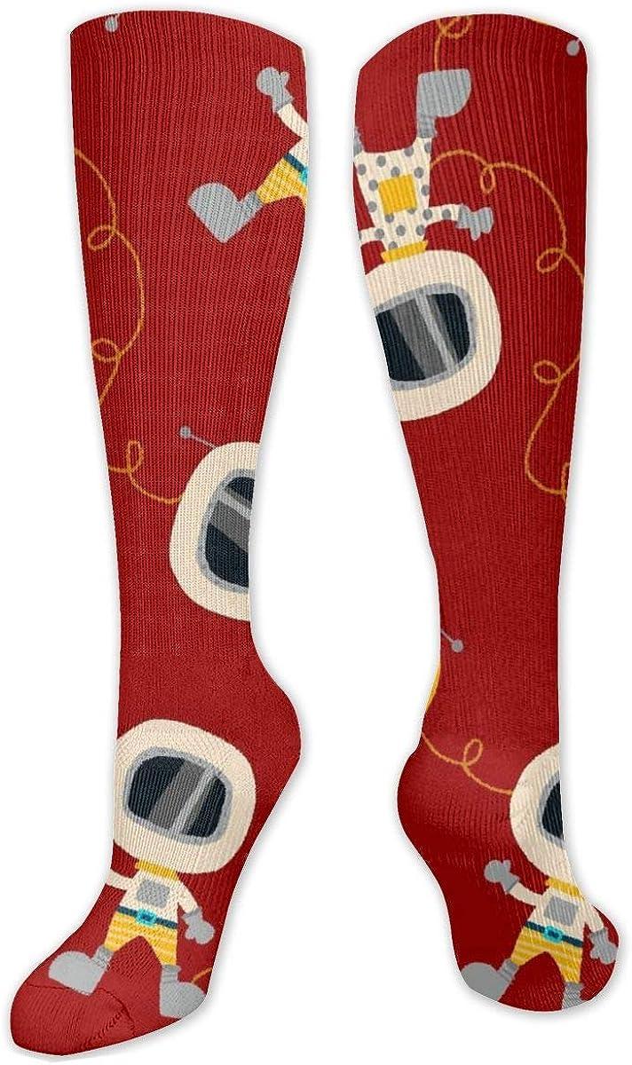 Cartoon Robot Knee High Socks Leg Warmer Dresses Long Boot Stockings For Womens Cosplay Daily Wear