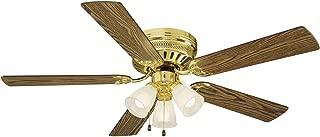 Design House 156604 Flush Mount, 5 Medium Oak/Walnut Blades Ceiling fan with 50 watts light, Polished Brass