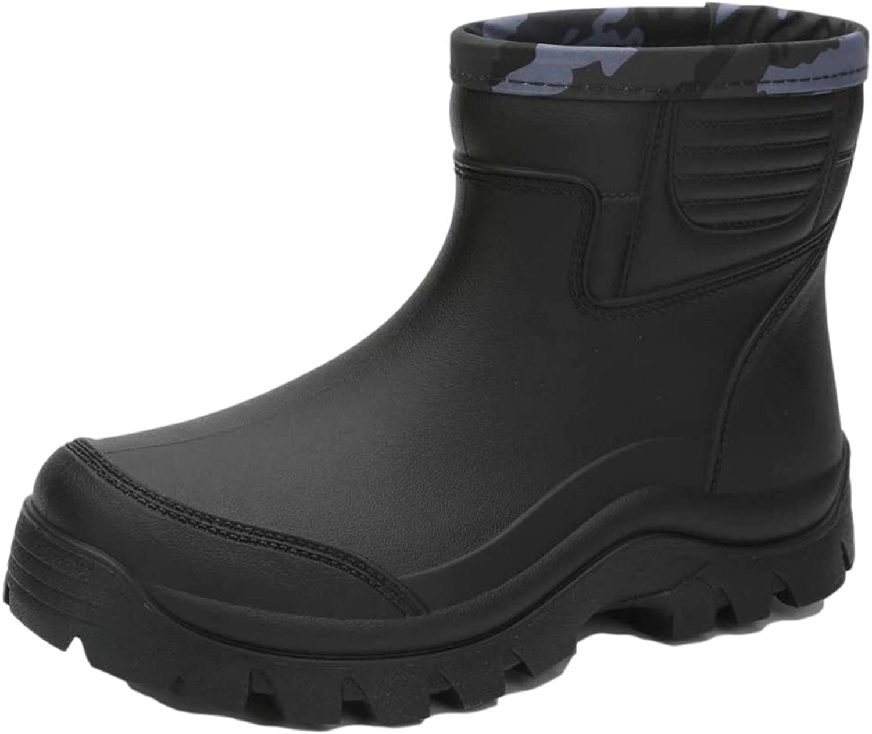 Enelauge Men's Waterproof Rain Fort Worth Mall Short Long Beach Mall Nonslip Boots Rubber Shoes