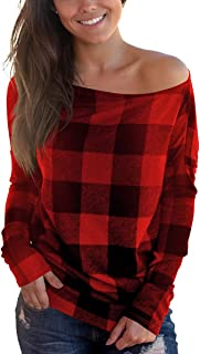 Women's Off Shoulder Top Long Sleeve Plaid Tee Shirt Blouse