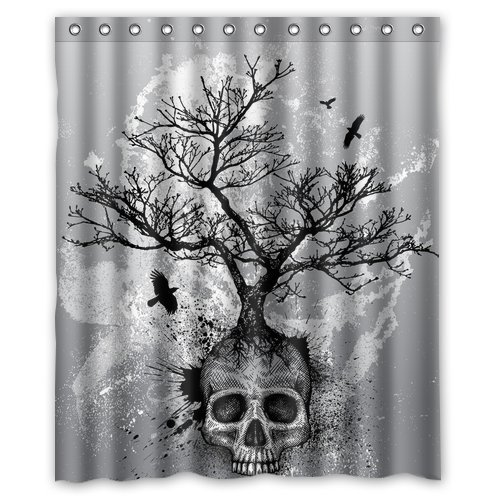 FMSHPON Creative Skull Tree Black Eagle Shower Curtain 60 x 72 Inches