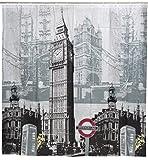 Grinscard Duschvorhang mit London Motiv - Grau Famous Landmarks Design 180 x 180 cm - Dusch-Vorhang als Geschenkidee