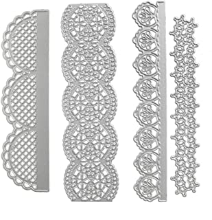 Multibey 4 Packs Embossing Scrapbooking Cutting Dies Stencil Stamp DIY Crafts Template 3D Effect Card Paper Making Supplies Set(Lace Shaped)