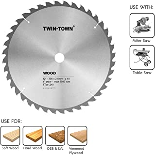 TWIN-TOWN 12-Inch Saw Blade, 40 Teeth,General Purpose for Soft Wood, Hard Wood & Plywood, ATB Grind, 1-Inch Arbor