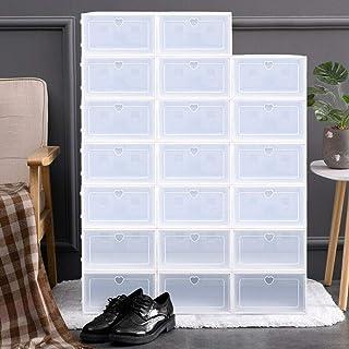 Kaibrite Lot de 20 boîtes à chaussures empilables en plastique avec porte transparente - Pour homme et femme - 33 x 23 x 1...