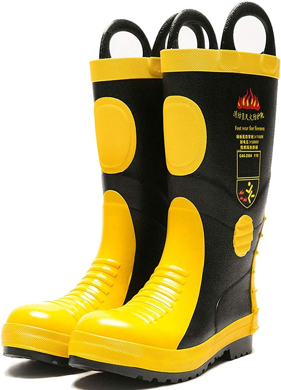 FRF Rain Boots- Men's High-Tube Waterproof and Anti-Puncture Rubber Rain Boots, Outdoor Steel Plate Fire Rain Boots