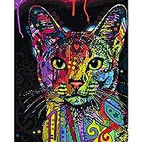 ZCLCHQ 数字キットによる カラフルな猫 DIYの油絵の素材パッケージは 初心者と大人がキャンバスに番号でペイントすることを目的 40 * 50 Cm(フレームレス)
