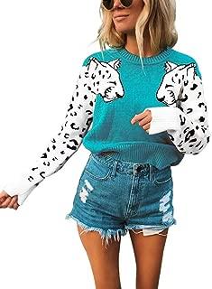 KOOBETON Womens Stylish Leopard Short Sweaters Knitted Long Sleeve Pullover Tops