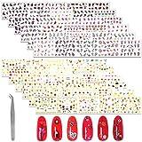MWOOT Ongles Decoration Stickers, 60 Feuilles de Stickers Ongle Accessoires de Décoration pour Ongles Decoration Motif Fleurs