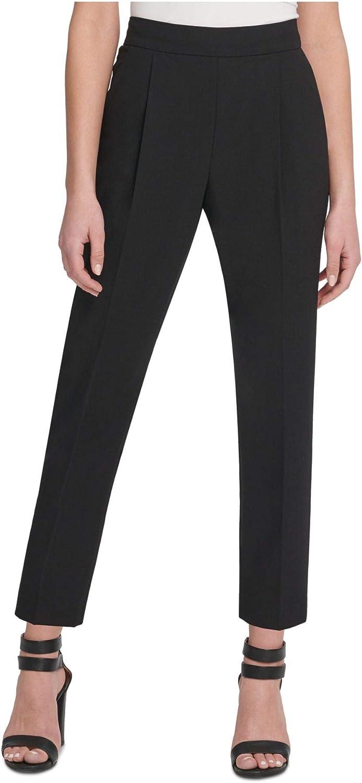 DKNY Womens Black Pleated Wear to Work Pants Size 0