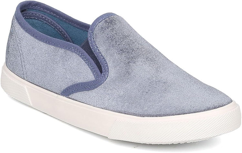 Qupid Women Velvet Round Toe Low Top Slip On Sneaker GF74