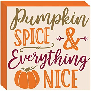HAPPY DEALS ~ Pumpkin Spice and Everything Nice Sign - 7.5 x 7.5 inch - Fall and Harvest Decor Block Sign