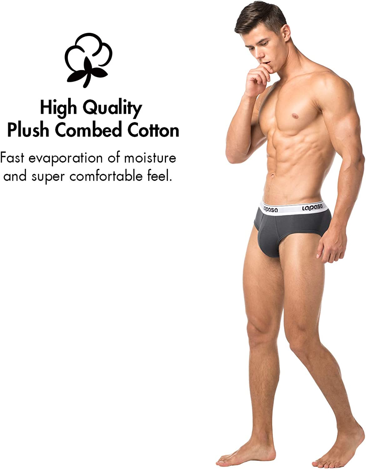 LAPASA Mens 4 Pack Cotton Briefs Counter Pouch Easy Removable Tag Underwear Wide Waistband M04