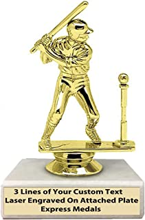 Express Medals (1-50 Packs of 1st 2nd 3rd Place Winner Champion Male T-Ball Trophies, Genuine Marble Base with Engraved Personalized Plates 131