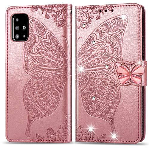 Suhctup Funda para Samsung Galaxy A31, de piel sintética, con diseño de mariposa y flores, con soporte y función de apoyo para tarjetas