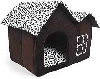Mascota Habitacion - SODIAL(R)Lujo Alto-Final Doble Mascota Casa Marron Perro Habitacion 55 x 40 x 42 cm