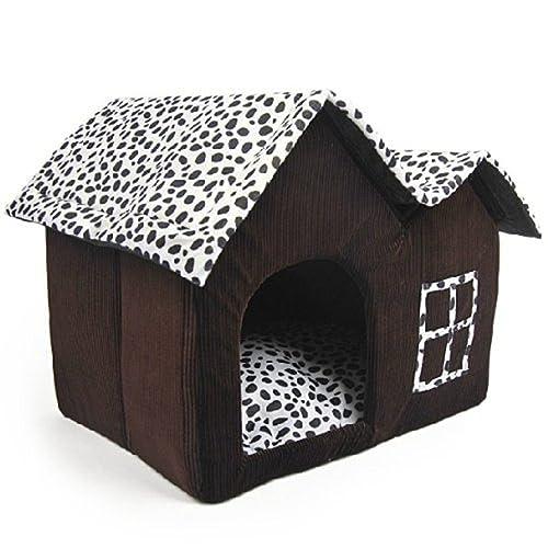 Mascota Habitacion - SODIAL(R)Lujo Alto-Final Doble Mascota Casa Marron Perro