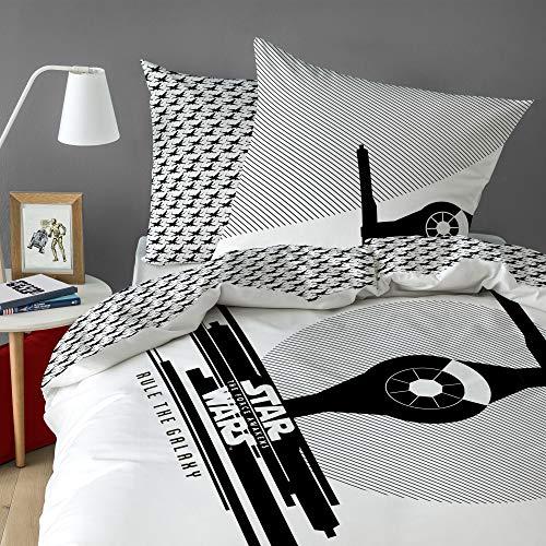 Star Wars – Funda de edredón y de almohada Star Wars Fighter – 100 % algodón – Color blanco, blanco, 140 x 200 cm