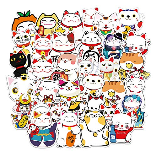 JZLMF 55 Happy Cat Cartoon Stickers Laptop Suitcase Car Scooter Decoration Stickers 55 Fortune Cat-89
