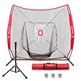 Keenstone 7'×7' Baseball Softball Practice Net Hitting for Pitching, Batting, Catching, Fielding (7'x7' Net + Strike Zone + Batting Tee + 3 Balls)