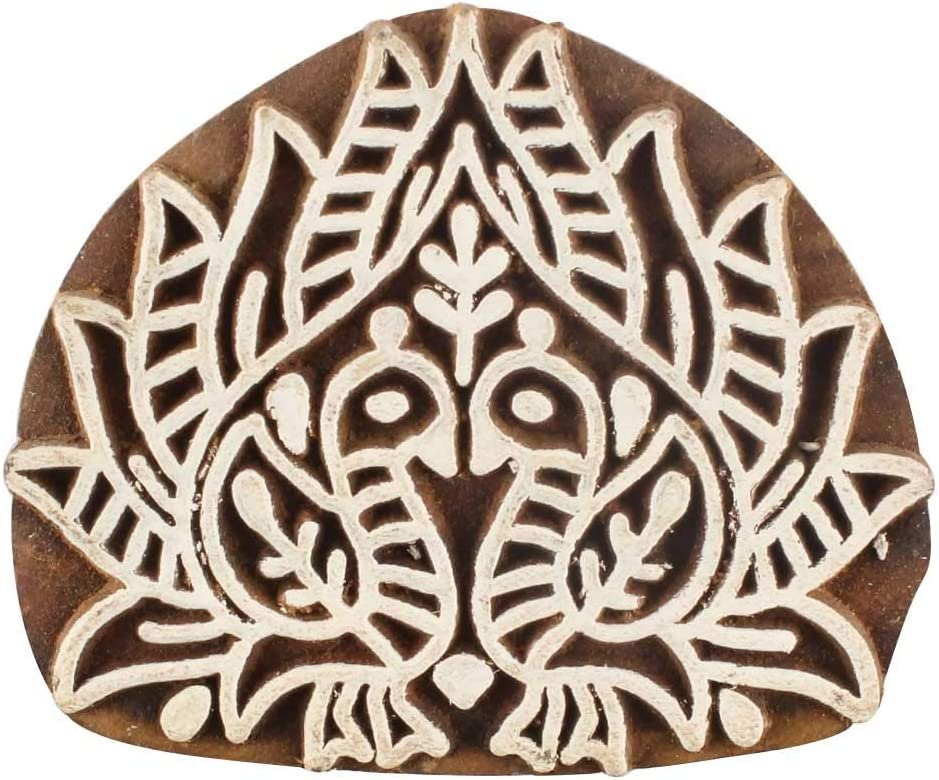 IndianShelf Handcrafted Brown Wooden Printing 2.5 Max 48% OFF 2 X Cheap mail order specialty store Blocks Inc
