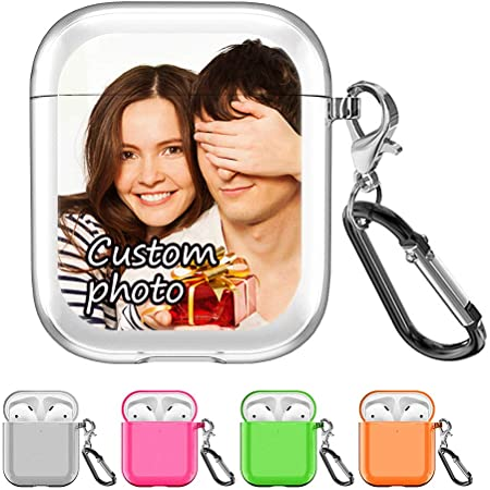 SHUMEI Custom Picture AirPods Case Compatible with Apple AirPod 2 and 1, Personalized Gift Shock Absorption Soft Clear TPU Cover DIY Photo