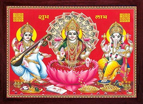 Göttin Maa Laxmi mit Ganesha und Maa Saraswati, Ganesha Giving Segen, Poster Gemälde mit Rahmen, Muss für Anbetungszwecke