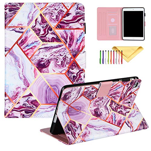 Uliking iPad Mini Case, Case for iPad Mini 4, iPad Mini 5 Case, iPad Mini 2/3 Case with Pencil Holder, Marble Painting PU Leather Folio Flip Stand Smart Cover Multi Angle Viewing Stand, Purple Marble