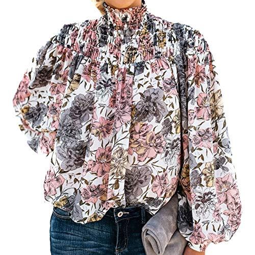 Vrouwen Hoge hals Knop Lange mouwen Blouse Shirt Bloemen Casual Tops Zomer Strand M Wit 1