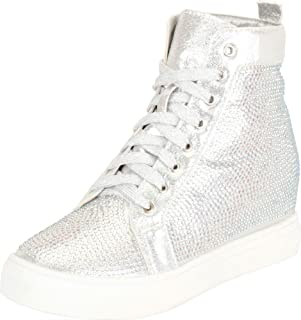 Cambridge Select Women's Crystal Rhinestone Lace-Up Chunky Low Hidden Wedge Heel Fashion Sneaker