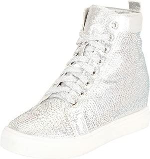 Cambridge Select Women's Crystal Rhinestone Lace-Up Chunky Low Hidden Wedge Heel Fashion Sneaker