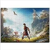 Zeo Qi Lin Zou Rompecabezas clásico Assassin'S Creed Odyssey 52x38cm Madera 1000 Piezas Juego Familiar Enhanced Thinking Logic Regalo de cumpleaños