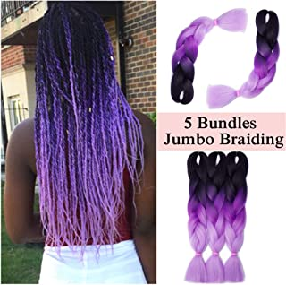 Ombre Jumbo Braiding Hair Black to Dark Purple to Light Purple Three Tones Crochet Twist Hair Extensions 24 inch Long Box Braids Heat Resistance Synthetic Hair for Women DIY Fun(24