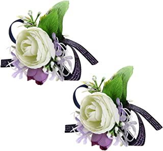 Febou Wrist Corsage Pack of 2 Wedding Bridal Wrist Flower Wristband Hand Flower for Bride Bridesmaid Perfect for Wedding, Prom, Party (A-White)